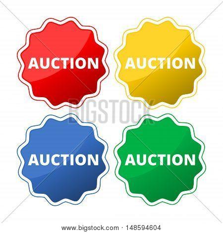 Set of 4 colorful auction icons set on white background