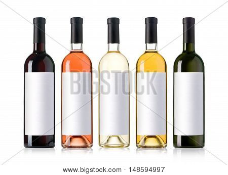Set of white rose and red wine bottles.isolated on white background