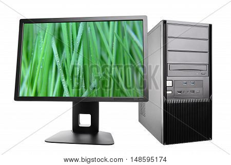 desktop computer with a monitor. workstation isolated on white poster