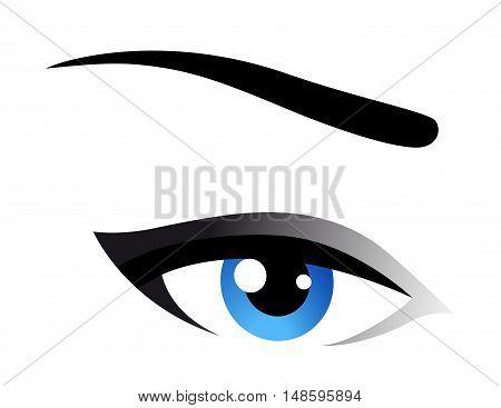 blue woman eye icon on white background