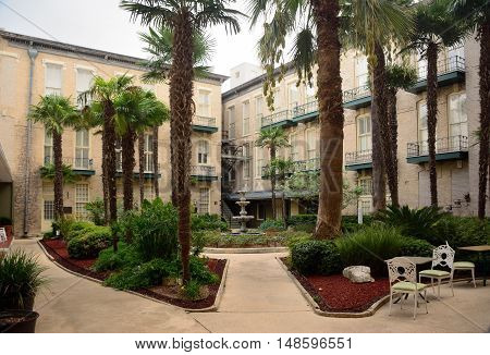 Courtyard inside of the Hotel complex with landscaping.