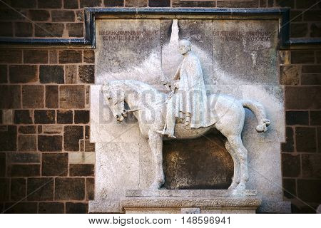 BREMEN, GERMANY - AUGUST 30: The equestrian statue in honor of the Prussian commander Helmuth von Moltke at the Church of Our Lady on August 30, 2016 in Bremen.