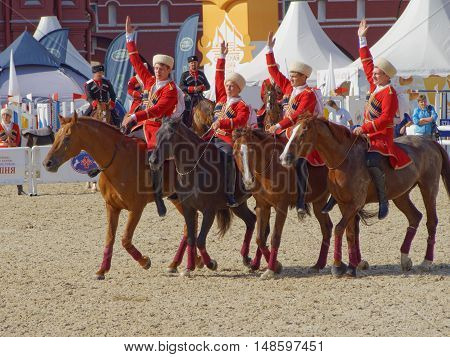MOSCOW, RUSSIA - September 3, 2016: Fancy riding of the Kremlin school of riding on the Red Square. September 3, 2016 in Moscow, Russia