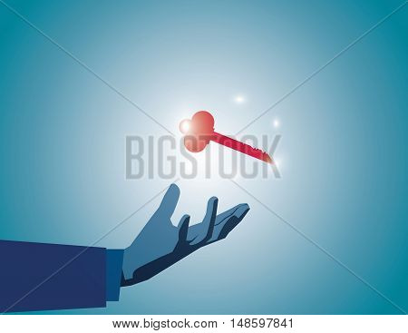 Businessman Showing Key To Success In Hand. The Key To Success. Vector Flat