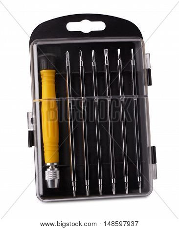 precision screwdriver set of bits isolated on white