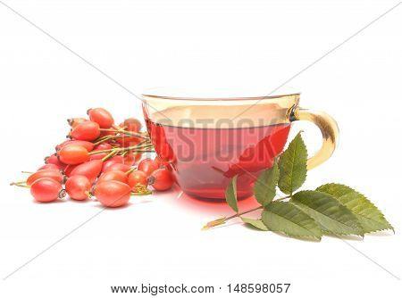 rose hip tea with rose hip fruits