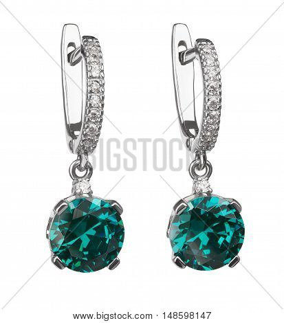 detailed gemstone closeup with reflections beautiful silver earrings with blue topaz isolated on white