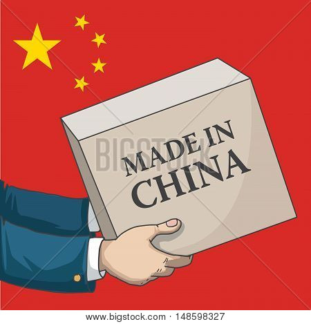 Cartoon, hand drawn human hands, holding a box, with made in China sign, and a flag background, vector illustration