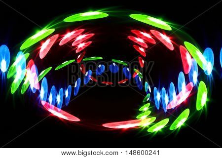 LEDs arranged circular in front of a dark background.