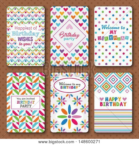 Set of bright happy birthday invitation cards for party celebration. Vector illustration. Cute geometric pattern decoration. Funky kid collection.Wave polka dot heart flower shapes