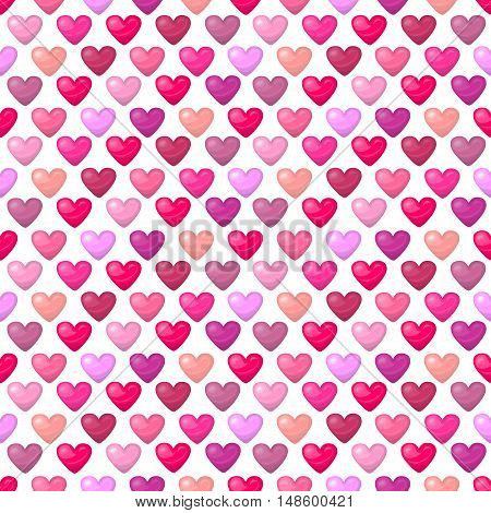 Cute shiny seamless heart pattern isolated on white background. Vector illustration for valentine design. Chic sweet feminine background invitation card. Lovely romantic decorative set