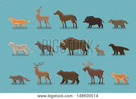 Animals icons. Boar, bear, fox, deer, horse, badger leopard wolf musk ox hare raccoon deer elk lynx wolverine