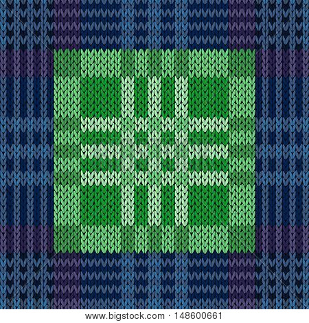 Seamless Pattern As A Knitted Fabric In Blue And Green