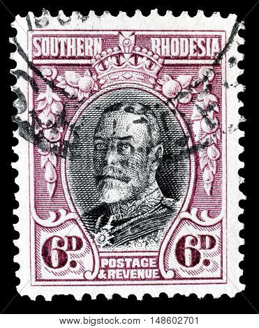 SOUTHERN RHODESIA - CIRCA 1933 : Cancelled postage stamp printed by Southern Rhodesia, that shows King George.