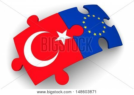 Cooperation between the European Union and the Turkey. Puzzles with flags of the European Union and the Turkey on a white surface. The concept of coincidence of interests in geopolitics. Isolated. 3D Illustration