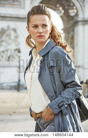 Fashion-monger Near Arc De Triomphe Looking Aside