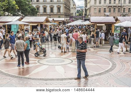 BUDAPEST, SEPTEMBER 18: Area of St. Stephen on September 18, 2016 in Budapest, Hungary. Area of St. Stephen in Budapest one of the most popular place for tourists.