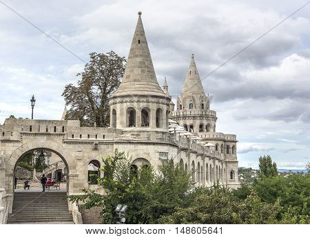 Ancient architectural building Fishermens Bastion in Budapest, Hungary.