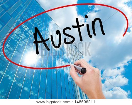 Man Hand Writing Austin  With Black Marker On Visual Screen
