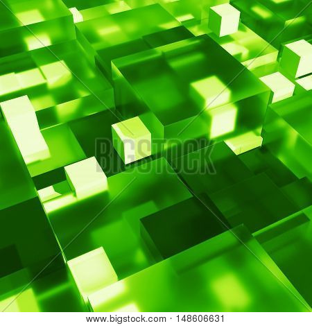 3D Rendered Cubes With Different Size. 3D Glass Cubes With Shadows, Reflection, Refraction And Brigh