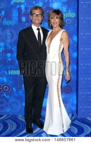 LOS ANGELES - SEP 18:  Harry Hamlin, Lisa Rinna at the 2016  HBO Emmy After Party at the Pacific Design Center on September 18, 2016 in West Hollywood, CA