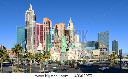 LAS VEGAS - DEC 25, 2016: New York-New York Hotel and Casino on Las Vegas Strip in Las Vegas, Nevada, USA. This Hotel is built with replicas of famous landmarks on New York City skyline.