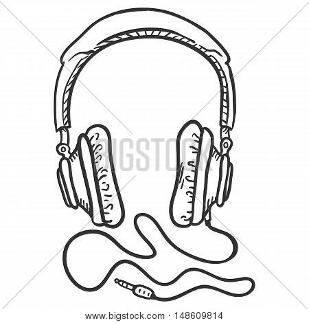 Vector Single Sketch Circumaural Headphones With Wire.
