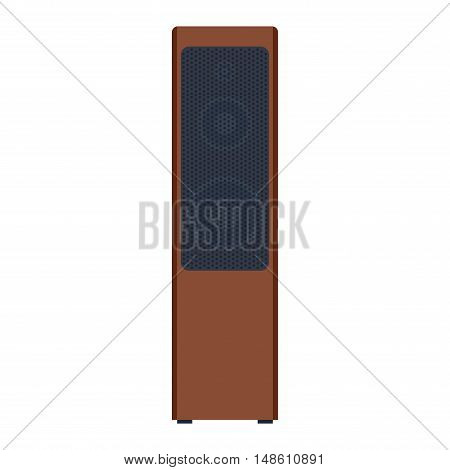 Musical columns speaker bass equipment isolated on white background. Vector column speaker loudspeaker loud volume modern musical system. Disco electronics professional technology column speaker.