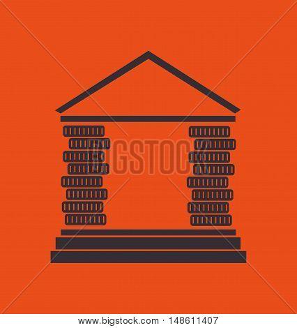 silhouette bank building orange money icon vector illustration eps 10