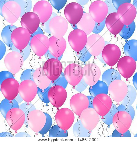 Seamless background of illustrated balloons. Pink in foreground. Blue in background.