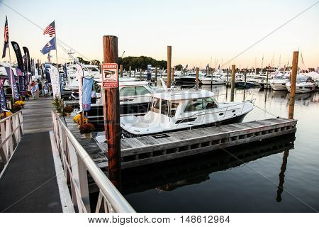 NORWALK- SEPTEMBER 22: Atmosphere from from first day Boat Show in Norwalk on   September 22, 2016  Norwalk, CT, USA.