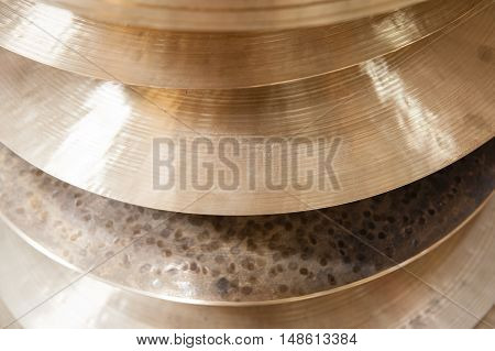 Pile Of Crash Cymbal Drum Plates