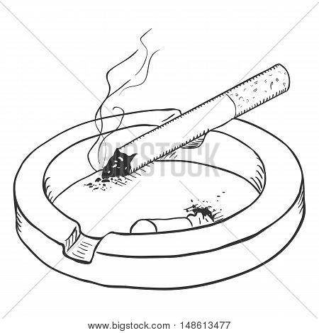 Vector Sketch Ashtray With A Smoking Cigarette And A Cigarette Butt