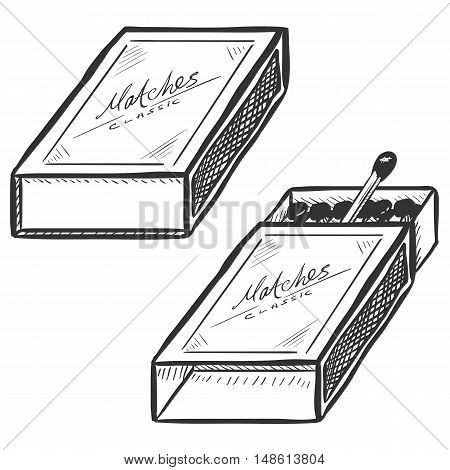 Vector Set Of Two Matchboxes. Open And Closed.