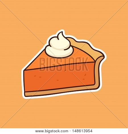 Drawing of pumpkin pie piece topped with whipped cream traditional American Thanksgiving Day dessert. Hand drawn vector illustration.