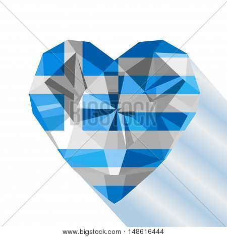Vector crystal gem jewelry Greek heart with the flag of the Hellenic Republic. Flat style logo symbol of love Greece. Independence Day  25 March. Europe