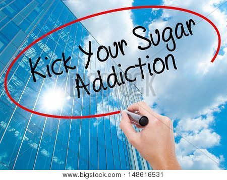 Man Hand Writing Kick Your Sugar Addiction With Black Marker On Visual Screen