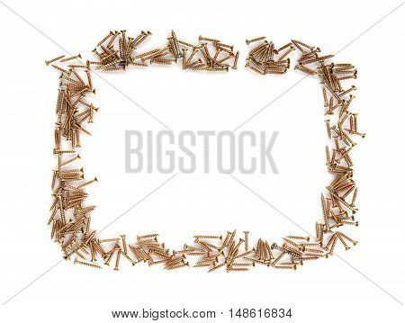 Frame made by lots of chipboard screws on white