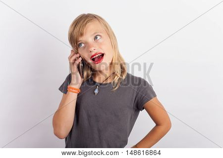 A Young girl speaking on cell phone