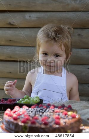 Little Boy Eats Red Raspberry