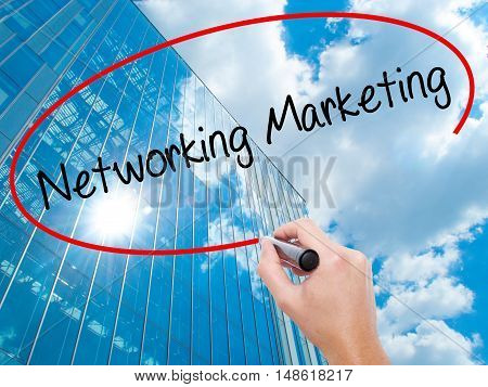 Man Hand Writing Networking Marketing With Black Marker On Visual Screen