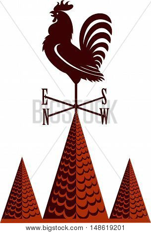 Weather vane rooster on a pointed tile roof