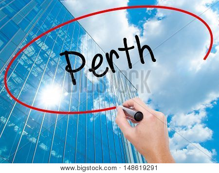 Man Hand Writing Perth With Black Marker On Visual Screen