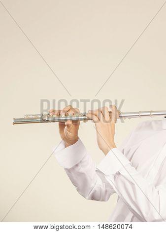 Flute Music Instrument In Hands Of Flutist Musician