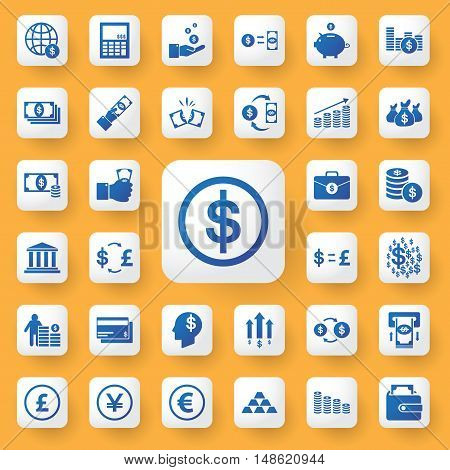 App Icon Business And Money Icons Set. Vector Illustration.