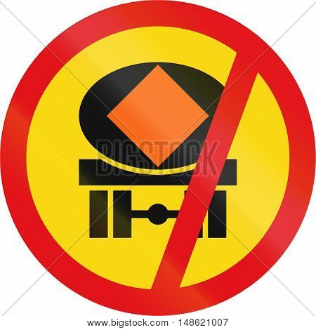 Temporary road sign used in the African country of Botswana - Vehicles transporting dangerous substances prohibited. poster