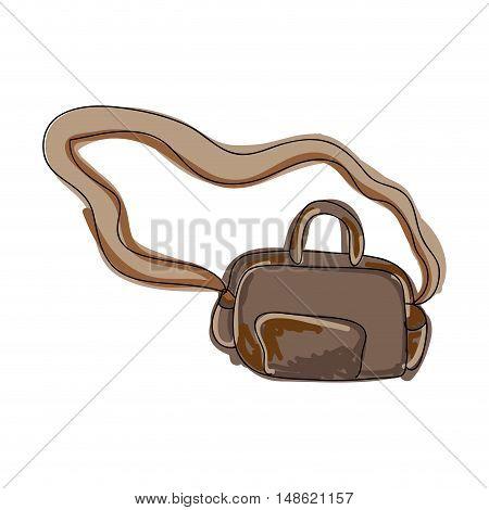 brown knapsack luggage accessory. drawn design. vector illustration