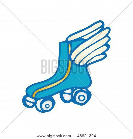 blue roller skates with wings. sport game equipment. vector illustration
