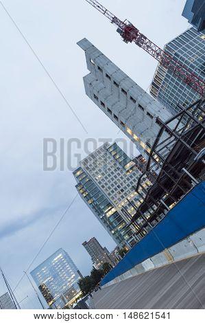 South Boston Massachusetts USA - September 1 2016: Steel rising at 50 Liberty waterfront residential construction project along Boston's Harborwalk