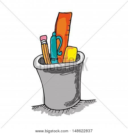 pencil holders cup with pencil pen and ruller. drawn design. vector illustration